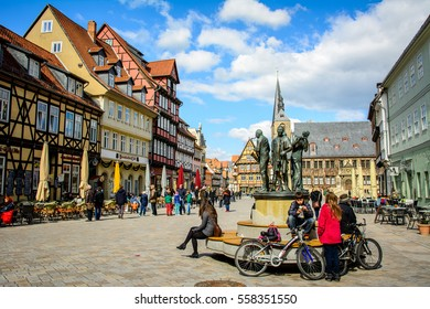 Quedlinburg, Germany - April 05, 2015:Traditional half-timbered german houses in Quedlinburg village, declared Unesco world heritage