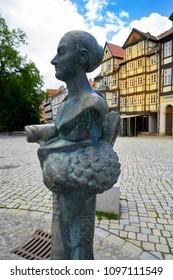 QUEDLINBURG, SAXONY-ANHALT/GERMANY - JULY 15, 2017: Dorothea Erxleben sculpture born in Quedlinburg first doctor in Germany on 1754 at Halle university