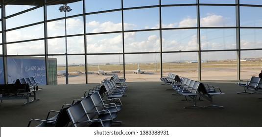 Queen Alia Airport, Amman, Jordan - April,18, 2019 Queen Alia Airport a Jordan's largest airport located in cappital city , Amman