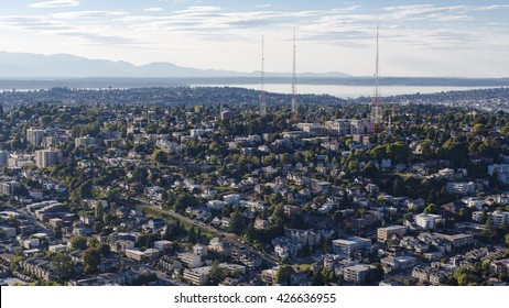 Queen Anne Hill Neighborhood, Downtown Seattle, Washington - Aerial Birds Eye View of the Pacific Ocean, Olympic Mountains