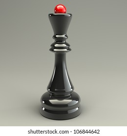 Queen chess isolated on gray 3d render