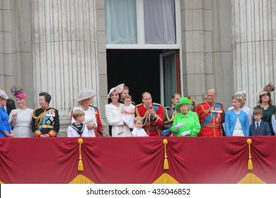 Queen Elizabeth 90th Birthday, Buckingham Palace, London: June 11 2016-  Trooping the Color ceremony, Princess Charlotte 1st time on Balcony, Prince George, Willam, Harry also: