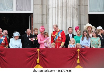 Queen Elizabeth Buckingham Palace, London June 17 2017- Trooping the Colour Prince Philip george, william, harry Kate non Balcony for Queen Elizabeth Birthday- stock photo, stock photograph, image