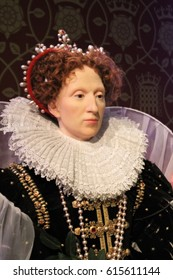 Queen Elizabeth i, London, United Kingdom - March 20, 2017: Queen Elizabeth I 1st wax figure at museum London