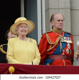 Queen Elizabeth II and the Duke of Edinburgh attend the Trooping Of The Colour at Horse Guards Parade, London, UK. June 16, 2012, Picture: Catchlight Media / Featureflash