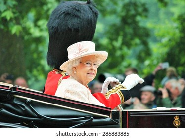 Queen Elizabeth II and Duke of Edinburgh attend the Trooping Of The Colour at Horse Guards Parade,  during Trooping the Colour ceremony, on June 13, 2015 in London, England, UK