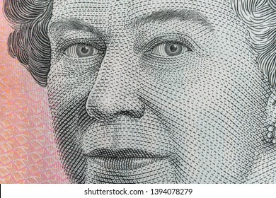 queen elizabeth ii eyes ultra macro shot on Australian Five Dollar Banknote.