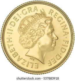 Queen Elizabeth II Gold Sovereign Fourth Portrait obverse.