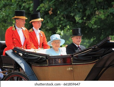 Queen Elizabeth ii & Prince Philip, London June 2017- Trooping the Colour parade Queen Elizabeth & prince philip Duke of Edinburgh parade for Queens Birthday stock photo photograph image picture press
