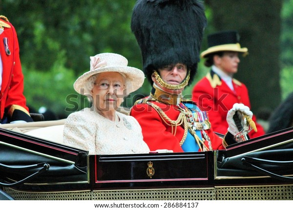 Queen Elizabeth ii & Prince Philip stock photo,Trooping the Colour Elizabeth & Philip in carriage Queen Elizabeth 's Birthday on June 13, 2015 in London, England, UK - stock photography image