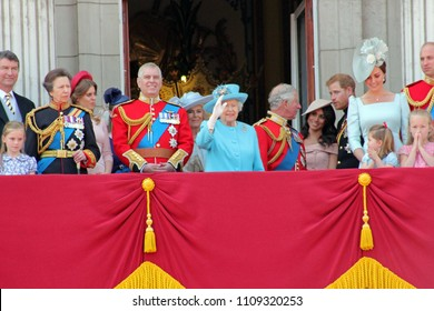 Queen Elizabeth London June 10,2018- Trooping Colour Megan Markle, Prince Harry Andrew, William, Charles, Kate Beatrice, Eugenie & Charlotte Balcony Queen Birthday, London UK - stock press photo