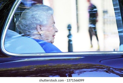 Queen Elizabeth, London, UK - 22nd May 2017- Queen Elizabeth in car attends the Royal Horticultural Society Chelsea annual Flower Show, Queen's favourite - stock photo photograph image press
