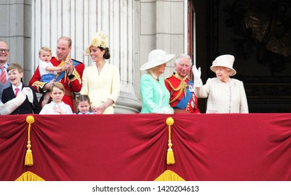 Queen Elizabeth, London, UK - 8 June 2019: Prince Louis George William Charles Kate Middleton & Princess Charlotte Trooping the colour Royal Family at Buckingham Palace stock Press photo image