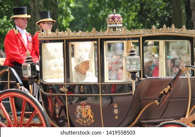 Queen Elizabeth, London, UK - 8/6/19 : Queen Elizabeth travels to Buckingham Palace in carriage, trooping the colour