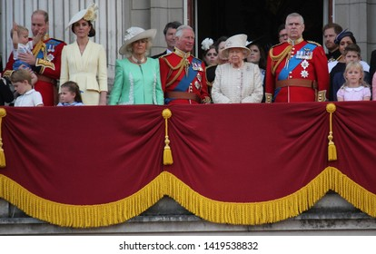 Queen Elizabeth London uk 8June 2019- Meghan Markle Prince Harry George William Charles Kate Middleton & Louis Princess Charlotte Trooping the colour Royal Family Buckingham Palace stock Press photo