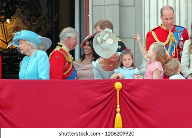 Queen Elizabeth, London, uk, June 2018- Meghan Markle, Prince Harry, Prince George William, Charles, Kate Middleton & Princess Charlotte Trooping the colour Royal Family Buckingham Palace, June 2018
