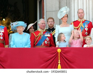 Queen Elizabeth, London, uk, June 2018- Meghan Markle, Prince Harry, Prince George William, Charles, Kate Middleton  Princess Charlotte Trooping the colour Royal Family at Buckingham Palace, June 10 2