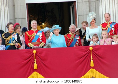 Queen Elizabeth, London, uk, June 2018- Meghan Markle, Prince Harry, Prince George William, Charles, Kate Middleton  Princess Charlotte Trooping the colour Royal Family at Buckingham Palace,
