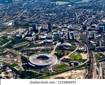 Queen Elizabeth Olympic Park London from the air
