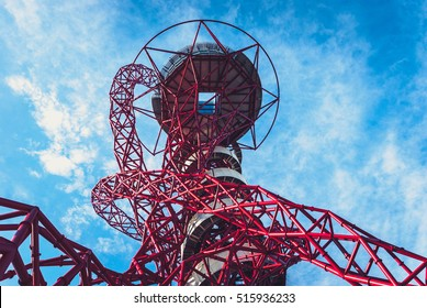 Queen Elizabeth Olympic Park, London - July 28, 2013:  ArcelorMittal Orbit tower in the Queen Elizabeth Olympic Park, the UK's tallest sculpture with observation deck