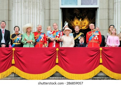 queen Elizabeth, Prince harry and Royal Family, London June 2015- Queen Elizabeth's Birthday Buckingham Palace Balcony Trooping the Colour, Prince George 1st time 13.6.2015 in London England