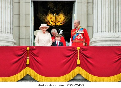Queen Elizabeth & Prince Philip, Buckingham Palace Balcony, London June 13 2015- Trooping the Colour ceremony,  for Queen Elizabeth's Birthday- stock photo, stock photograph, image, picture, editorial