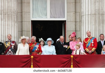Queen Elizabeth & Prince Philip, Buckingham Palace, London June 17 2017- Trooping the Colour Prince george, william, harry on Balcony for Queen Elizabeth's Birthday, stock photo, stock, photograph,