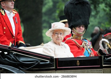 QUEEN ELIZABETH & PRINCE PHILIP, London, UK - June 13: The Royal Family appears during Trooping the Colour ceremony for Queens Birthday, on June 13, 2015 in London, England, UK