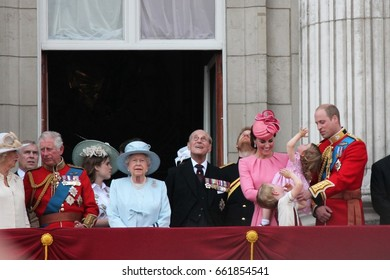 Queen Elizabeth Prince Philip & Royal Family  London June 17 2017- Trooping the Colour Prince George William harry Kate & Charlotte Balcony stock photo photograph, image picture press picture