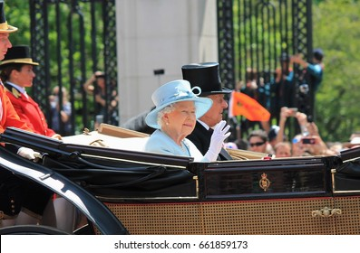 Queen Elizabeth & Prince Phillip, Buckingham Palace, London June 2017- Trooping the Colour for Queen Elizabeths Birthday, June 17, 2017 London, England, UK