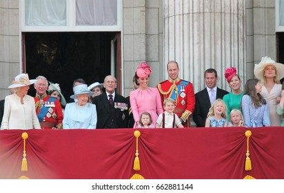 Queen Elizabeth & princess charlotte Royal Family, London 17June 2017-  Prince George, William, Philip Charles on Balcony Queen Elizabeth's Birthday, Trooping the colour, Buckingham Palace, England UK
