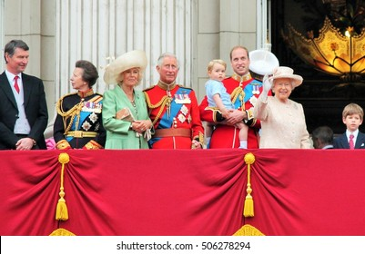 Queen Elizabeth & Royal Family, Buckingham Palace, London June 2015- Trooping the Colour Prince Georges first appearance on Balcony for Queen Elizabeth's Birthday, June 13, 2015 London, England, UK