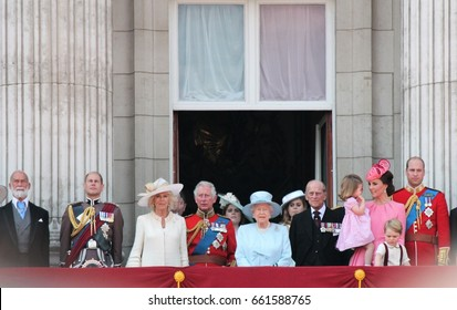 Queen Elizabeth & Royal Family, Buckingham Palace, London June 2017- Trooping the Colour Prince Georges first appearance on Balcony for Queen Elizabeth's Birthday, June 17, 2017 London, England, UK
