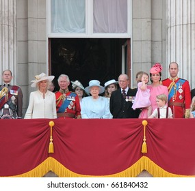 Queen Elizabeth & Royal Family, Buckingham Palace, London June 2017- Trooping the Colour Prince george, william, harry & Charlotte on Balcony Queen Elizabeth's Birthday, June 17, 2017 London, UK
