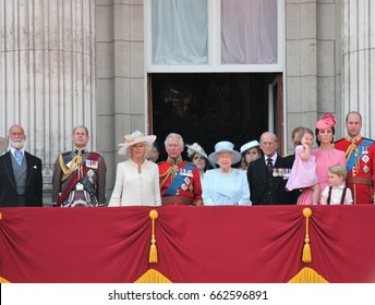 Queen Elizabeth & Royal Family, Buckingham Palace, London June 2017- Trooping the Colour Prince george, william & Charlotte on Balcony Queen Elizabeth's Birthday, June 17, 2017 London, UK