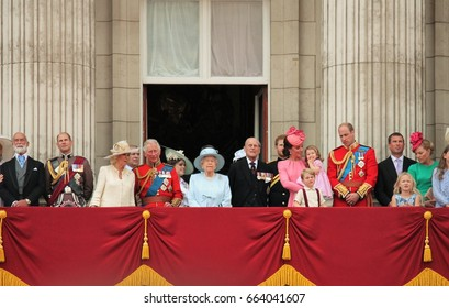 Queen Elizabeth & Royal Family, Buckingham Palace, London June 2017- Trooping the Colour Prince george, william, harry on Balcony for Queen Elizabeth's Birthday, June 17, 2017 London, England, UK