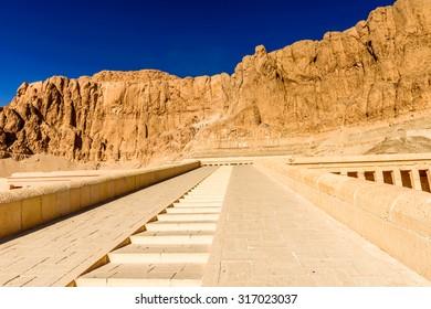 Queen Hatshepsut's temple (Dayr el-Bahari or Dayr el-Bahri) in Egypt, part of the Theban Necropolis.