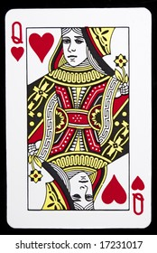 Queen of Hearts against black background