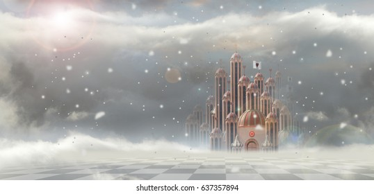 queen of hearts palace in wonderland with snow
