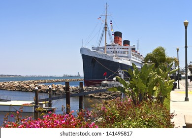 The Queen Mary ship moored in Long Beach California.