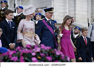 Queen Mathilde of Belgium and King Philippe of Belgium walk after the Te Deum Mass at The Saint Michael and St Gudula Cathedral in Brussels on July 21, 2017, on the occasion of Belgian National Day.