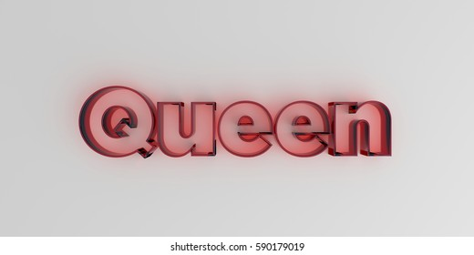 Queen - Red glass text on white background - 3D rendered royalty free stock image.