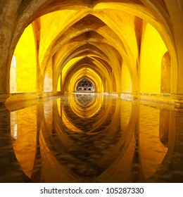 The Queen s bath in Seville Alcazar, Andalusia, Spain. Front view