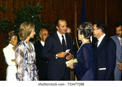 Queen Sophia and King Juan Carlos I of Spain greet members of the local Spanish community during a reception at the Embassy as part of their State Visit to Washington DC., October 15, 1981.