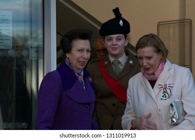 Queen Street Coleraine, Co Londonderry, Northern Ireland Thursday 7th February 2019. HRH Princess Anne attends the opening of Coleraine Library as part of a one day visit to Northern Ireland