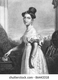 Queen Victoria (1819-1901). Engraved by J.Cochran and published in The Gallery of Engravings, United Kingdom, 1846.