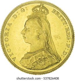 Queen Victoria Gold Sovereign. Jubilee head. Obverse of the coin.