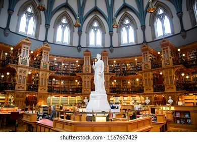 Queen Victoria in the Main Reading Room of the Library of Parliament on Parliament Hill in Ottawa, Ontario. Canada. 31-10-2017