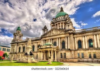 Queen Victoria Memorial and Belfast City Hall - Northern Ireland