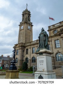 Queen Victoria Monument outside South Shields Town Hall, low angle shallow depth of field, North England Winter 2017